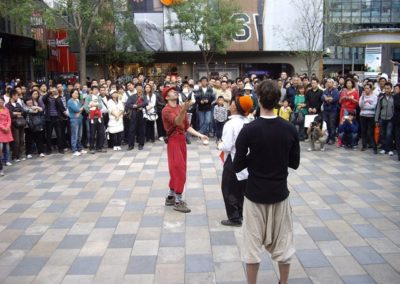 Jugglers in a Chinese shopping mall